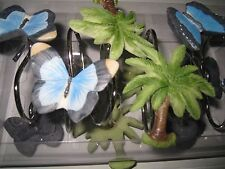 Croscill Home Blue Butterflies and Green Palm Trees Shower Curtain Hooks 12 NEW