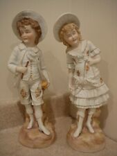 """ANTIQUE LARGE GERMAN BISQUE PORCELAIN CHINA PAIR FIGURINES STATUES BOY GIRL """"RW"""""""