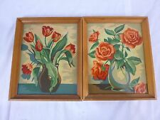 Pr Vtg Paint By Number Painting PBN Blossom Time Red Roses Tulips Craft Master