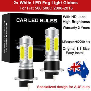 For Fiat 500 500C 2008-2015 2x Fog Light Globes 8000LM Spot Lamp White LED Bulb