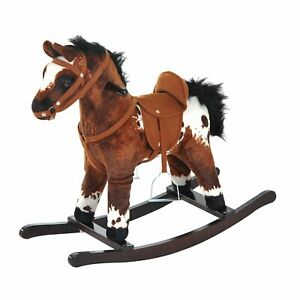 Kids Toy Rocking Horse Wood Plush Pony Traditional Gift w/Neigh Sound Toddlers