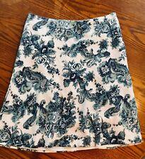 Women's Liz & Me Linen Rayon Skirt White Blue Paisley Lined Career 12 Zip Back