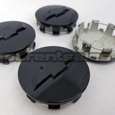 """83mm 3.25"""" Gloss Black Center Caps replica Chevy 20"""" 22"""" 24"""" rim 14-17 long clip"""
