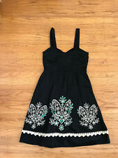 Floret Anthropologie Dress Sz 0 Black Cotton floral crochet Embroidery