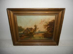 19th Century oil painting +- 1870,{ Riverlandscape with alot to see, is signed}.
