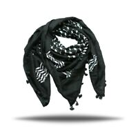 Hirbawi Kufiya White on Black Original Arab Scarf Palestinian Shemagh Brand New