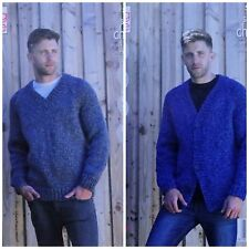bb27ea97bb541 KNITTING PATTERN Mens Easy Knit Jumper   Cardigan Super Chunky King Cole  5307