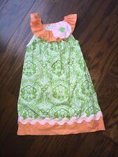 Girls Dress Handmade Etsy Size 4T Orange Green Fall Dress