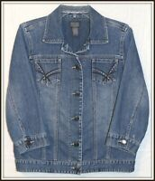 Chicos Denim jean jacket size 0 shopping, camping, work wear, casual, distressed
