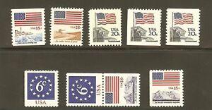 US Scott # 1890,1891,1892,1893,1894,1895, & 1896 1981-85 FLAG ISSUE MNH