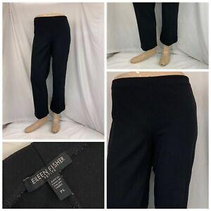 Eileen Fisher Stretch Pants PL Black Flat Front Viscose Blend Mint YGI RE2280