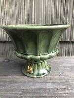 Vintage FTD Haeger USA Glazed Pottery Olive Green Ribbed Pedestal Planter Vase