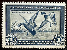 #RW1 $1 Blue Duck Hunting 1934  Mint Faintly Hinged