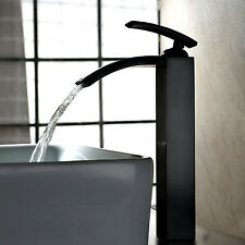 2017 Vintage Oil-rubbed Bronze Waterfall Vessel 1 Handle Bathroom Sink Faucet