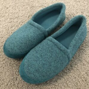 LL Bean Womens Sweater Knit Slippers 9 Heathered Teal , Perfect!