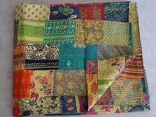Kantha quilt patchwork cotton indian bedding handmade blanket queen bedspread