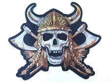 """Viking Skull Helmet Skins Tattoo Outlaw Biker Big Embroider Back Patch 9.7"""""""