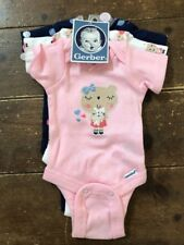 New Gerber Girls 3 Pack Bodysuits Size Preemie Up To 5lbs