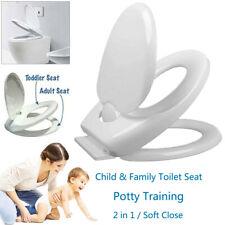 2in1 Familien WC Sitz mit Kindersitz Toilettendeckel Absenkautomatik Abnehmbar √