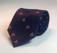Masonic Square & Compasses Woven Necktie - Navy/Red (MSC-NT-NR)