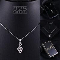 Musik Kette Halskette 925 Sterling Silber Damen ❤ SWAROVSKI ELEMENTS ❤ im ETUI