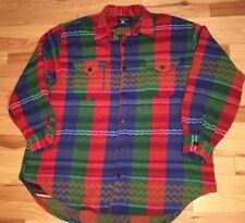 True Grit Men's Shirt Jacket Native American Aztec Style Thick Wool Blend Large