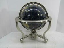 GLOBE BLUE SEMI PRECIOUS STONE OCEAN WORLD WITH COMPASS ON STAND