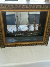 Antique wooden ship model, cased. Local Pickup Only