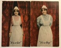 Lot of 2~IT'S A GIRL & BOY~Vintage Birth Announcement Baby Postcards-Nurses-p644