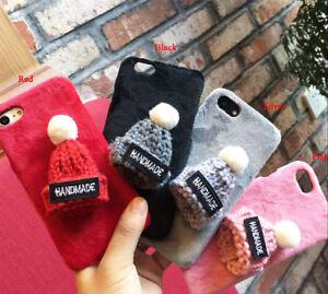 3D Soft Plush Handmade Wool Hat Back Phone Case Cover New Design fits Iphone b12