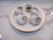 """COLLECTIBLE WHITE  GOLD TRIM CHINA ESCARGOT 7"""" PLATE with 5 REMOVEABLE SHELLS"""