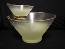 Vintage Mellow Yellow Chip and Dip Set Blendo West Virginia Glass
