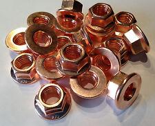 10 Stück, Kupfermutter DIN 6923 M10  SW15   (DIN6923) Turbo, Krümmermutter