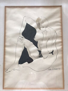 """Hand Drawn Mid Century Ink Nude Female Drawing 1967 Mid Century Mat Frame 19""""x25"""