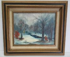 Vintage Framed Signed J Turner 79 Painting Winter Snow Haunted Halloween Forest