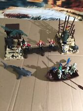 Lego Type Pirate Islands With Skeletons, Boat, Cannons, Etc And Free Shark!