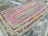 ❤️Braided Border Striped Rug Natural Jute & Multi Colour Fabric Rag 70cm x 140cm