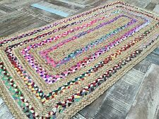 ❤️Braided Border Striped Rug Natural Jute & Multi Colour Fabric Rag 70cm x 140cm