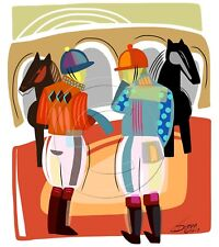 Jockeys Paddock Horse Racing Art Signed Numbered Matted Print Modern SFASTUDIO