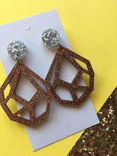 Geometric Acrylic Dangle Earrings, Bronze & Silver Glitter, Surgical Steel Stud