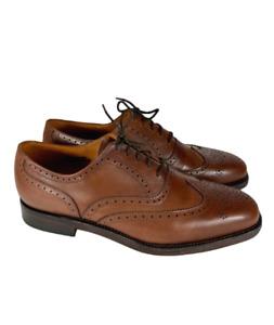 NWOB Crockett Jones Polo Ralph Lauren 10.5 D Tan/Brown Wingtip Oxford Dress Mens