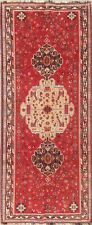 ANTIQUE Red 9 ft RUNNER Kashkoli Oriental Hand-Knotted Tribal WOOL Rug