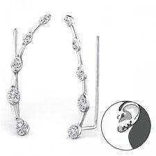 Sterling Silver 925 Tear Drop Ear Cuff Pierced Earrings