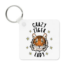 Crazy Tiger Lady Stars Keyring Key Chain - Funny Animal