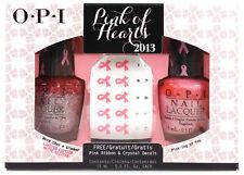 OPI Nail Polish Lacquer Pink of Hearts 2013 Duo + Nail Art Decals GIFT