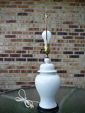 """Vintage Porcelain Asian Ginger Jar Table Lamp White On White  26"""" Gorg!"""