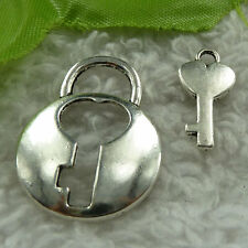 free ship 60 sets tibet silver lock key clasp 20x10`28x21mm #3782