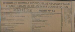 # 2023 Ration de combat francaise Menu 13  24 h 00 RICR-MRE
