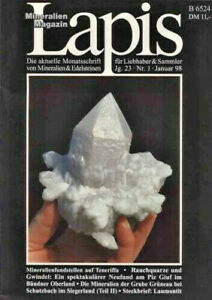 Mineralien Lapis Heft 01 Jan 1998 RAUCHQUARZ Siegerland Alpen Diamant Tucson