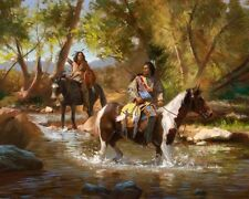Home Decor ,QUALITY Canvas Print, Oil Painting Indians, Two Riders 16x20